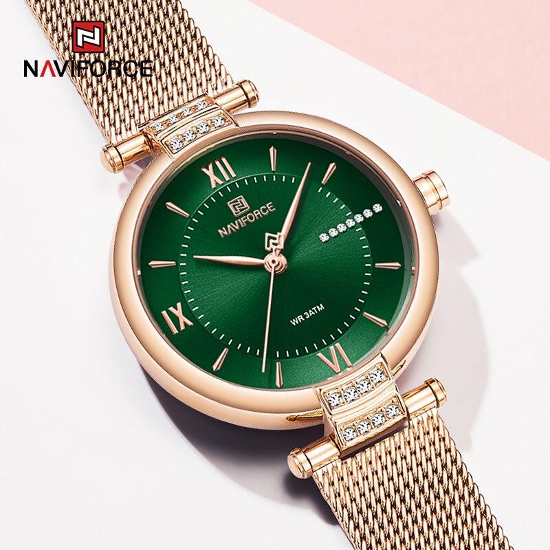 Часы наручные NAVIFORCE женские кварцевые, роскошные брендовые зеленые модные водонепроницаемые со стальным браслетом, со стразами, в римском с...