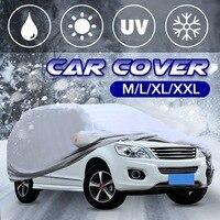 ユニバーサル 4 サイズ ML XL XXL シルバーフル車のカバー抗 UV 雨スタイリングサンシェード熱保護防塵屋外 -