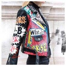Chaqueta de cuero pu con estampado de locomotor para mujer, chaqueta fina de estilo Punk con graffiti, con cinturón, para otoño y primavera, F1962