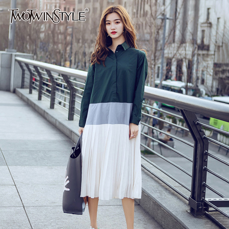 TWOTWINSTYLE Casual Patchwork Dress Female Lapel Collar Long Sleeve High Waist Midi Pleated Dresses Women 2020 Fashion Clothing
