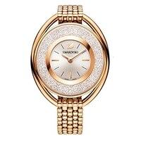 Relógio swarovski cristalino oval rosa tom de ouro braccialetto Relógios femininos     -