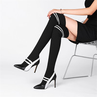 EMMA KING Fashion Leather Runway Stretch Fabric Sock Boots Pointed Toe Over the Knee Boots Leather Pointed Heeled Women Shoes