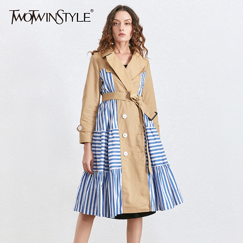 TWOTWINSTYLE Patchwork Striped Hit Color Women's Windbreaker Notched Long Sleeve High Waist Sashes Coat Female 2020 Autumn New
