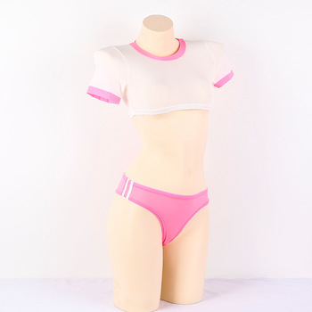Sexy Lingerie Set Hot Japanese Style Anime Cosplay Costume Open Crotch Schoolgirl Uniform Cheer Leader Roleplay Pink Red Blue ibackpack 2017 hot style pink