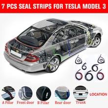 7 шт. комплект уплотнений двери звукоизоляционный Ветер шумоподавление двери автомобиля отделка Литье резиновый уплотнитель прокладки для Tesla модель 3