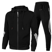 2021Brand Fashion Mens Two-piece Striped Sportswear Mens Hooded Top Outdoor Sports Pants Track Mens Suits