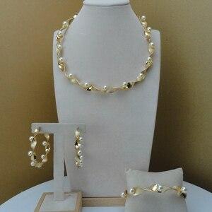 Yuminglai Dubai 24K Gold Jewlery Exquisite Jewelry Sets With Pearl FHK8523