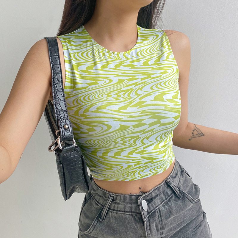 Aesthetic Y2K Cropped Tank Tops Women Summer Skinny Wave Shirts Vintage Camisole Streetwear Striped Print Crop Tops Sexy Vests