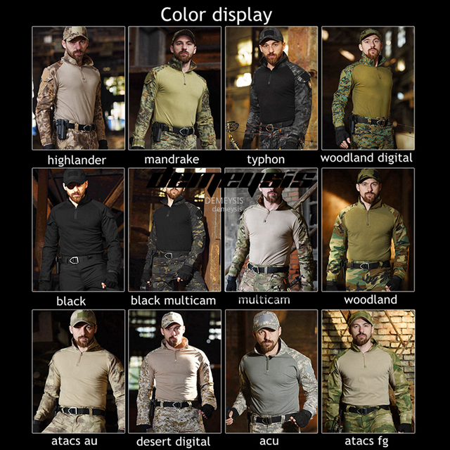 Military Uniform Shirt + Pants with Knee Elbow Pads Outdoor Airsoft Paintball Tactical Ghillie Suit Camouflage Hunting Clothes 2