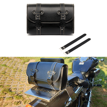 Universal Motorcycle Side Bags Saddlebag Black PU Leather Saddle Bags Motorbike Tool Pouch Tail Luggage Bag For Harley Sportster bjmoto brown motorcycle pu leather left right side saddlebag saddle bag luggage bag tool bags storage for harley sportster