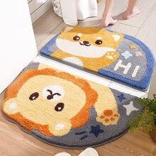 Semicircle Cartoon Animals Flocking Door Floor Mats Carpets Doormat Rugs For Entrance Non-Slip Toilet Water Absorption Bathroom
