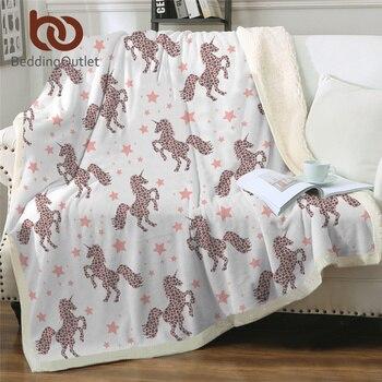 BeddingOutlet Unicorn Pink Blanket Cartoon Sherpa Fleece Blanket Leopard Dots Girly Blankets For Beds Stars Bedding Mantas