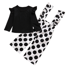 Children Girl Long Sleeve Round Collar Top with Dot Jumpsuit for Autumn Party 998