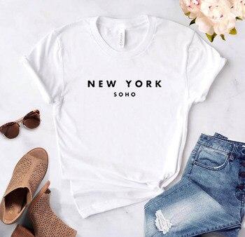 Camiseta divertida de algodón con letras New York Soho para mujer, camiseta de moda Harajuku
