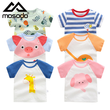 Mosodo T Shirts Children Clothing Top Cotton Short Sleeves Toddler Girl Clothes Kids Boy Summer Thin Baby Tee