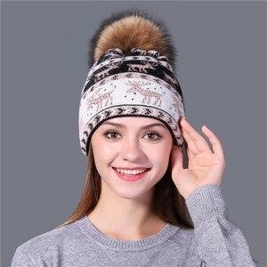 Image 4 - Xthree yeni gerçek vizon pom poms noel yün tavşan kürk örme şapka Skullies kış şapka kadınlar kızlar için şapka feminino bere