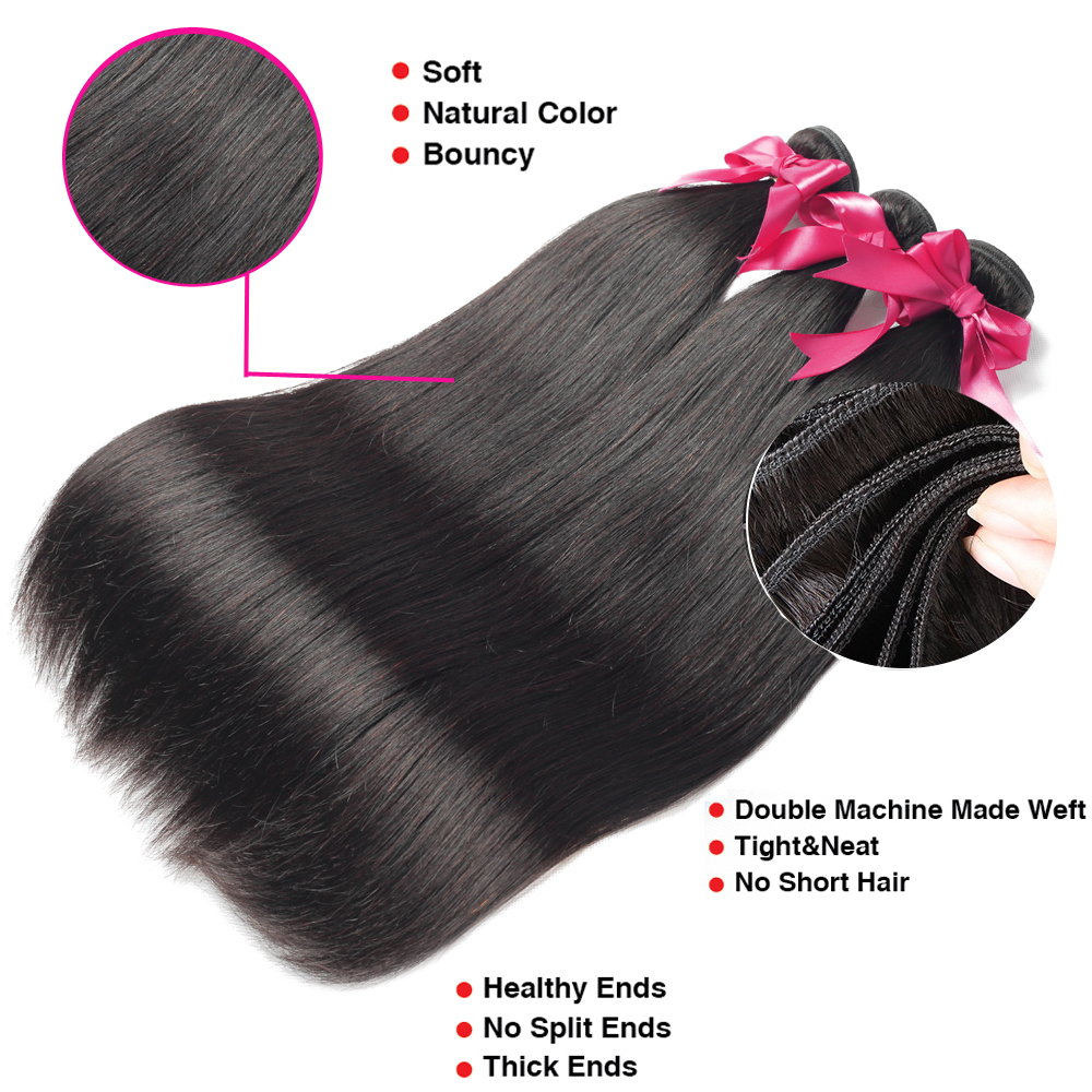 Beaudiva Straight Hair  Straight   Bundles Natural Black 1/3/4 pcs/lot 100%  Bundles  Hair 2