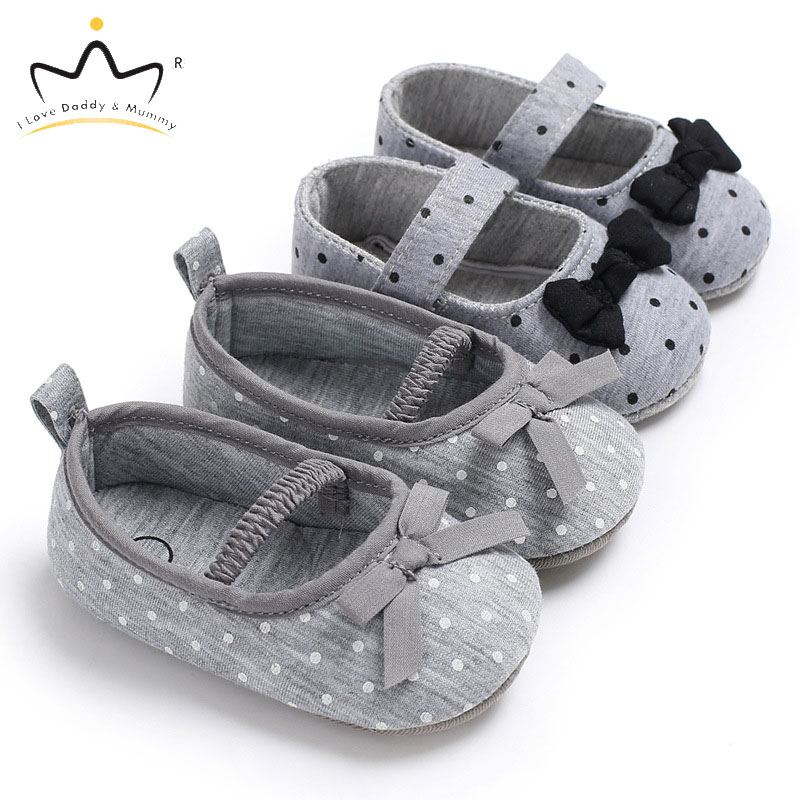 Summer New Vintage Dot Bowknot Baby Girl Shoes Cute Bows Soft Cotton Non-slip Toddelr Shoes First Walkers Girls