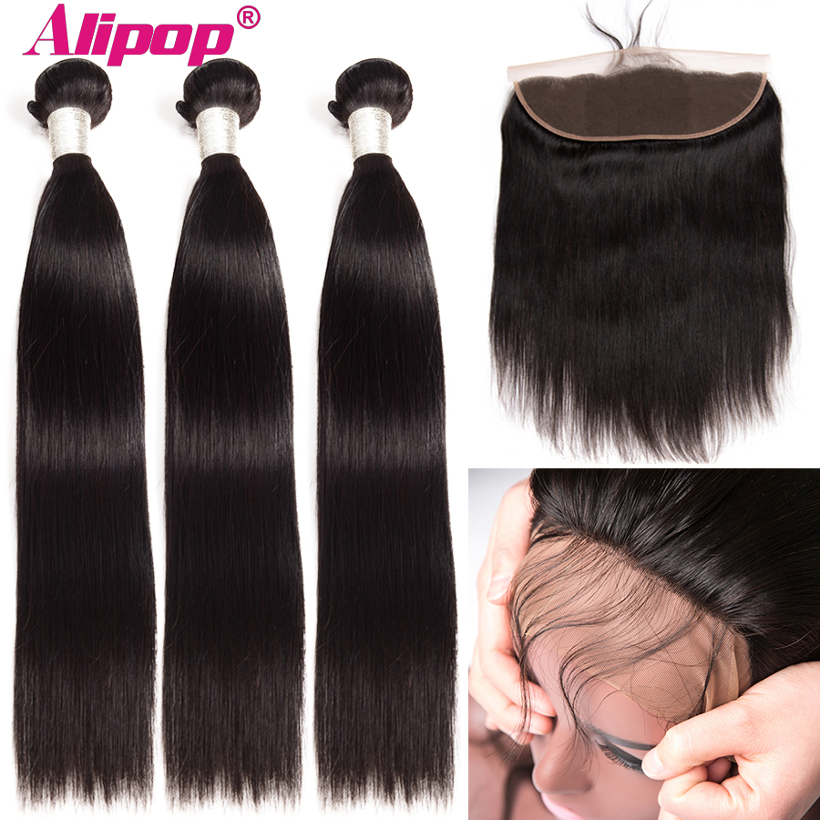 Alipop Straight Hair Weaves Human Hair With Closures 13x4 Frontal With Bundles Indian Remy Hair 3 Bundles With Frontal 10-28Inch