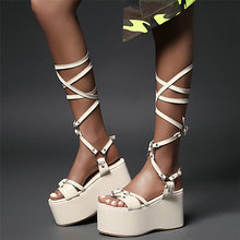 Punk Rivet Creepers Women Lace Up Strappy High Heel Knee High Gladiator Roman Sandals Female Open Toe Wedge Platform Pumps Shoes aiykazysdl gladiator roman sandals metallic faux leather strappy creepers ultra very high heel platform shoes square thick heels