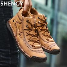 SHENGY Men Shoes Winter Sneakers Medium-cut Boots Male Vintage Leather Handmade Boots Men's Sneakers Retro Frosty Boots Big Size