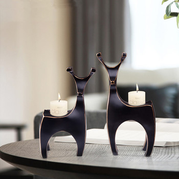 ABSTRACTION GEOMETRY DEER RESIN CANDLEHOLDER DECORATION LIVING ROOM DESKTOP ROMANTIC ORNAMENTS VALENTINE'S DAY GIFT X2061 - discount item  18% OFF Home Decor