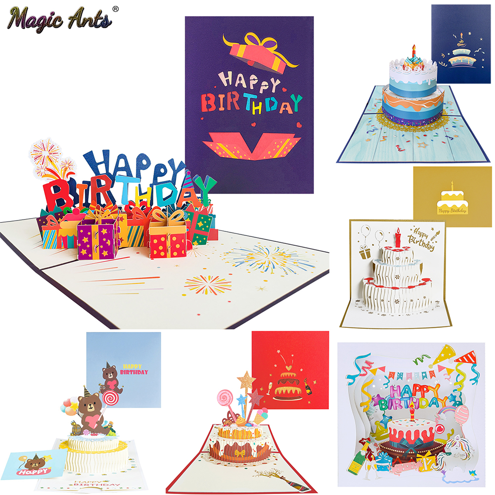 Happy Birthday Card for Girl Kids Wife Husband 3d Birthday Cake Pop-Up Greeting Cards Postcards Gifts with Envelope