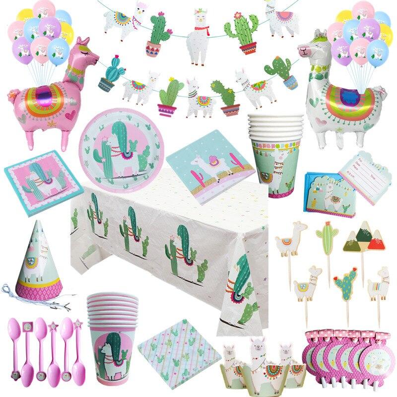 Праздничные украшения в виде ламы на день рождения, Мультяшные животные, фольгированный Гелиевый шар, альпака, кактус, топпер для торта, бум...