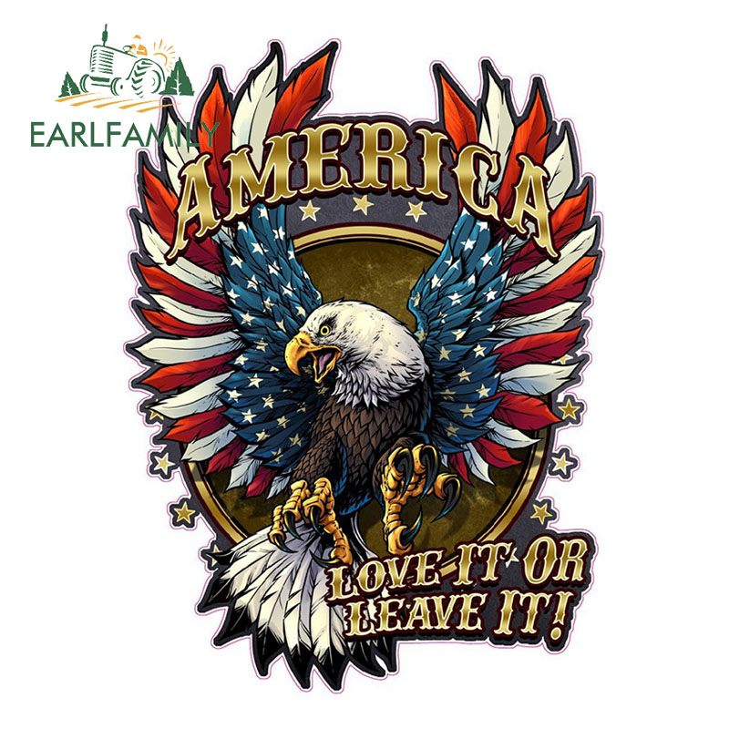 EARLFAMILY 13cm X 10cm American Bald Eagle American Flag Love It Or Leave It Decal Car Reflective Sticker Waterproof Accessories