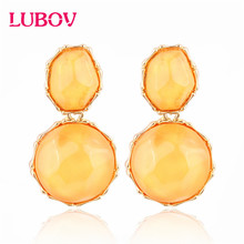 LUBOV Irregular circle Crystal Stone Dangle Earrings Gold Color Metal Frame Drop for Women Birthday Gift Party Jewelry