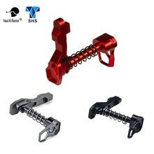Szkieletowy teksturowane CNC wykończone dwustronnie (lewa i prawa ręka) magazyn Release złapać do M4/M16 serii Airsoft AEG czerwony szary