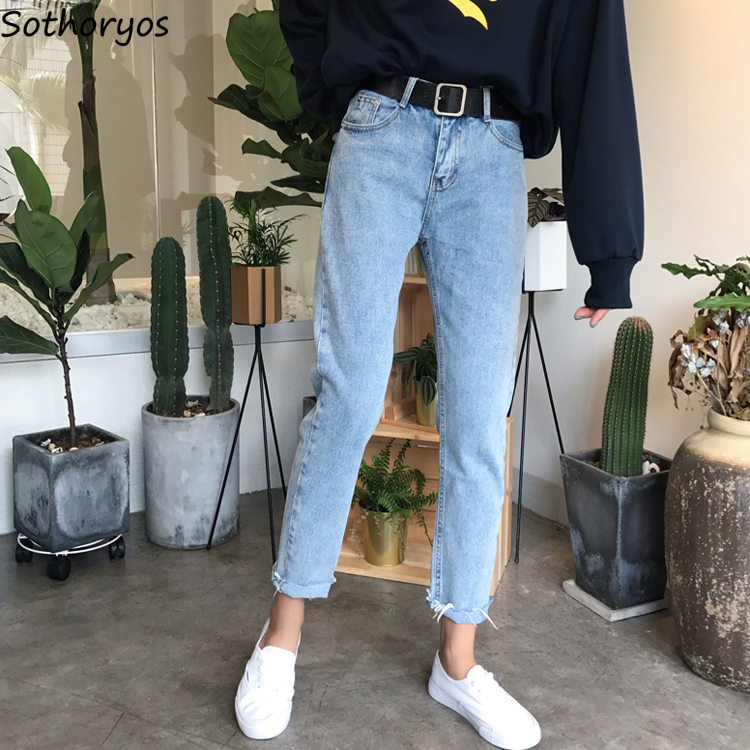 Jeans Women 2019 Spring Korean Style Loose All-match Straight High Waist Womens Leisure Female Pockets Soft Harajuku Trousers