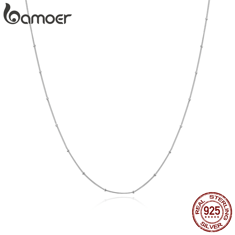 Bamoer Essential Tiny Round Beads Necklace Authentic 925 Sterling Silver 45cm Chain Link Necklaces Bijoux SCN391