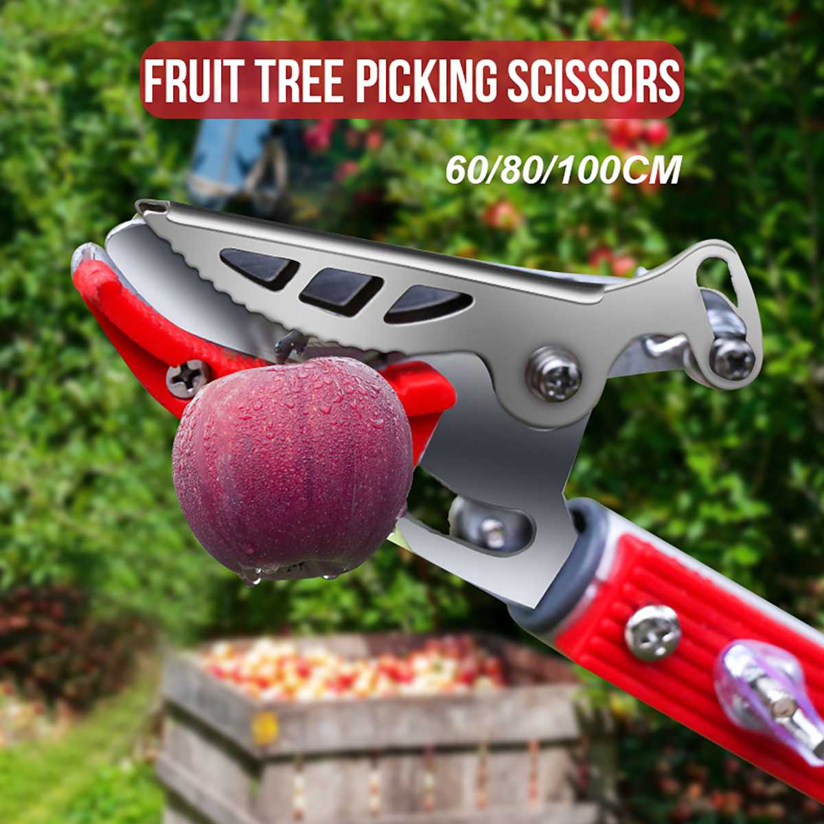 60/80/100cm Extra Long Reach Pruner Cut And Hold Bypass Pruner Max Cutting 1/2 Inch Fruit Picker And Tree Cutter For Garden
