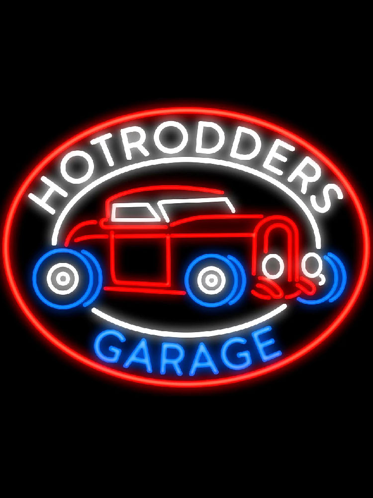 Neon Sign Hotrodders Garage Bar club Handcrafted REAL glass tubes Car advertise sign for wall window decorate Iconic Sign