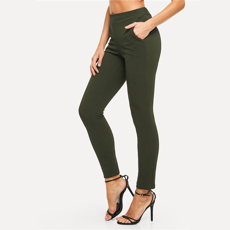 SHEIN Elastic Waist Mid Waist Skinny Trousers Autumn Office Lady Elegant Slim Fit Vertical Women Pencil Pants 16