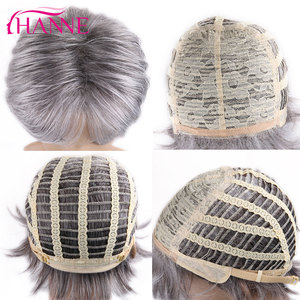 Image 5 - HANNE короткие синтетические парики, смешанный коричневый блонд ручной работы, кружевной топ, парики из высокотемпературного волокна для черных/белых женщин