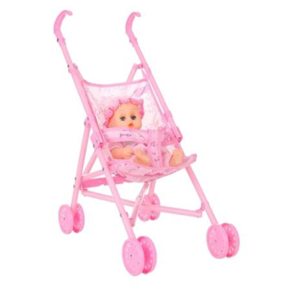 Baby Stroller For Doll Toy Infant Kids Carriage Stroller Trolley Nursery Toy For Foldable Mini Stroller Toys Girls Gifts Pink