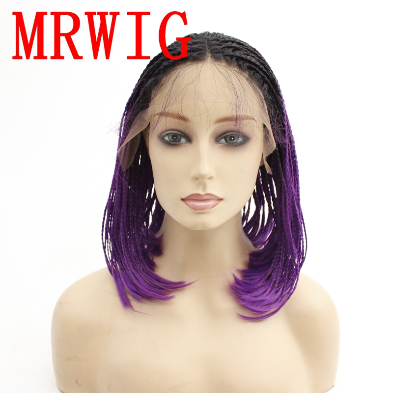 MRWIG short box braided braids synthetic front lace wig real hair picture 12in 180%density ombre purple color baby