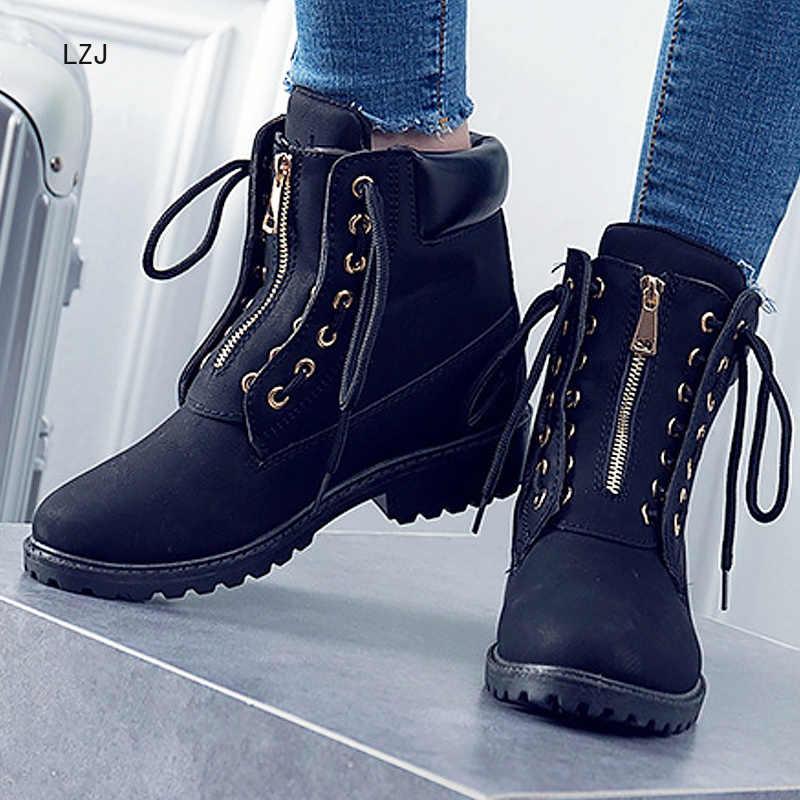 LZJ Mới 2020 Thời Trang Giày Bốt Nữ Giày Da Công Việc Mắt Cá Chân Giày cho Nữ 2019 Người Lớn Chéo buộc Nữ An Toàn giày Size 36-41