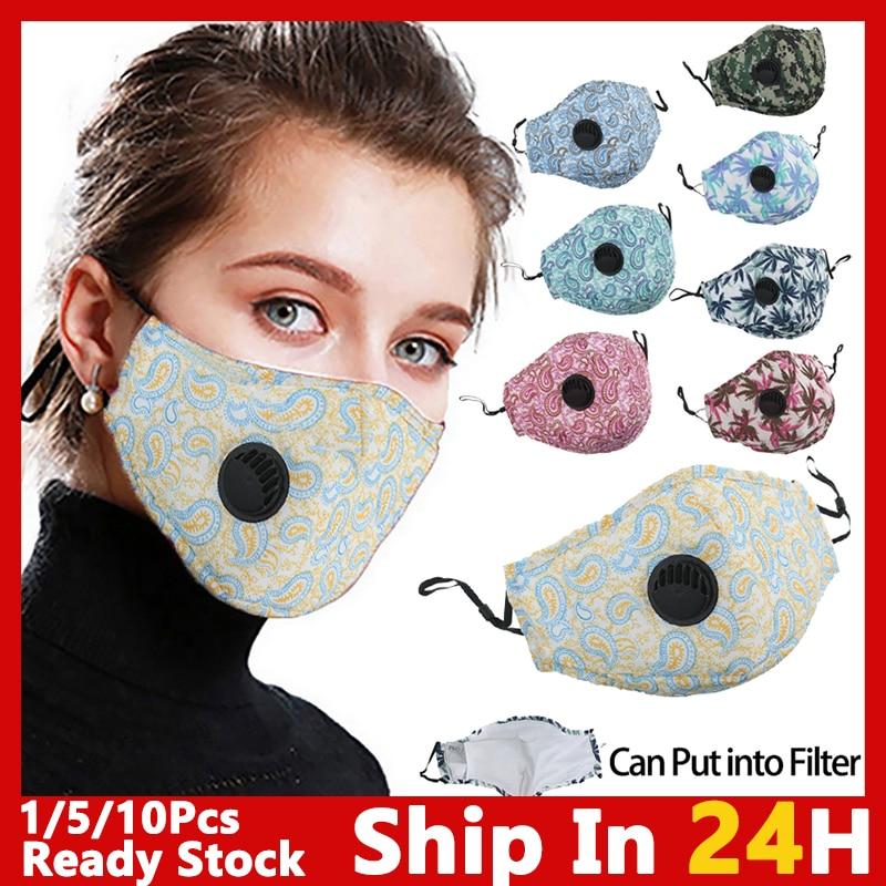 5/10pcs Reusable Adult Mask Filter Fashion Printing Mouth Mask Cotton Face Mask