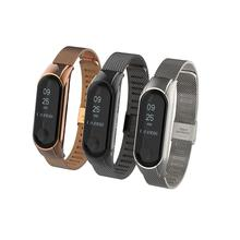 For Mi Band 3 4 Wrist Strap Metal Screwless Stainless Steel/Silicon Dual Color Xiaomi Bracelet Miband