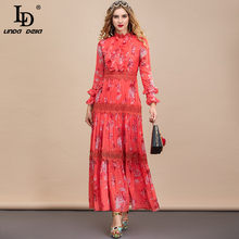 LD LINDA DELLA Summer Fashion Dress Women Flare Sleeve Lace Patchwork stampa floreale 2021 New Plus Size Long Vintage Party Dress