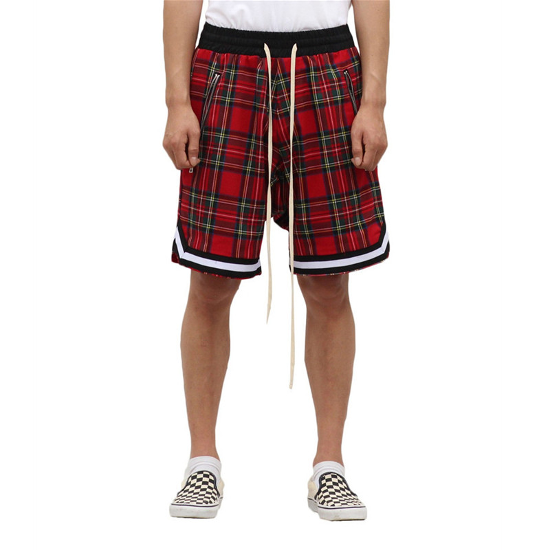 New Summer 2019 Scottish Shorts Men's Justin Bieber Vintage Plaid Basketball Sport Outdoor Casual Hip Hop Pants Zipper Pockets