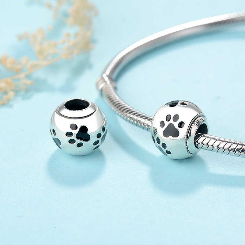 Strollgirl nowy 100% 925 srebro słodkie zwierzę pies odcisk łapy kota koralik urok pasuje bransoletka Pandora biżuteria prezent darmowa wysyłka
