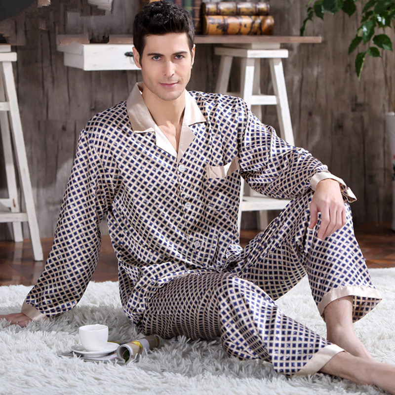 Plus Size Men Luxury Satin Pajamas Long Sleeved Silk Pijama Sleepwear For Men Pyjamas Set Printed Nightwear Man
