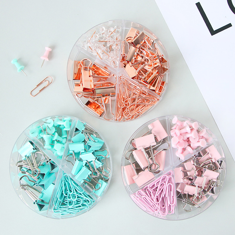 1set Metal Binder Paper Clips Set Rose Gold Clip Paperclips Bookmarks Cute Decorative Creative Simple Document Iron Clip