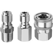 3pcs/set Car Door Washer Adapters Classic Delicate Stainless Steel 3/8 Quick Disconnect NPT Pressure Washer Adapters