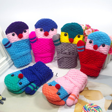 2019 New 3-8 Y Cute Cartoon Gloves Kids Full Rope Finger Winter Wool Plus Thick Mittens Warm Knitted for Boys Girls