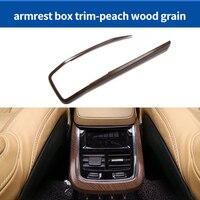 For VOLVO XC90 2016 2019 ABS peach wood grain armrest box chrome molding trim 1pc